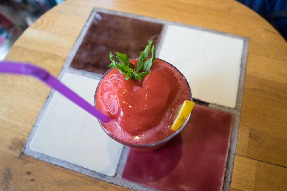 A strawberry smoothie at the cafe downstairs from  World House Hostel  in Galata, where I stayed for several nights this summer.