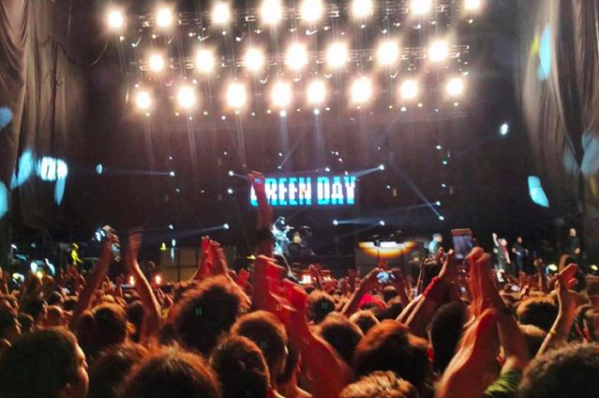 Green Day performing at the massive Velez Stadium. South American crowds are crazy, but still watch out for each other.