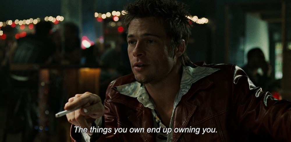 Satire at its best, using the medium as the message against itself: Brad Pitt as Tyler Durden in Fight Club (1999)