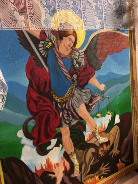 The Archangel Michael battling with the devil. (Photo by A.F. Rowlands)