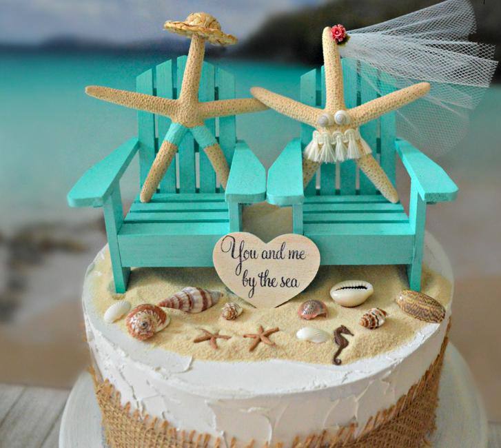 830bdc282 SUPER CUTE  Beach Wedding Cake Topper