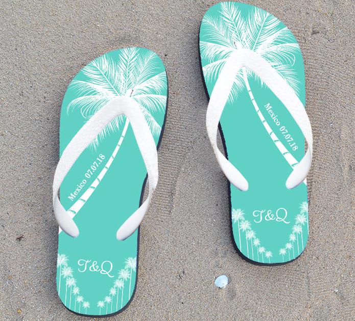 4d6209ac4 CHARMING  Personalised Beach Wedding Flip Flops