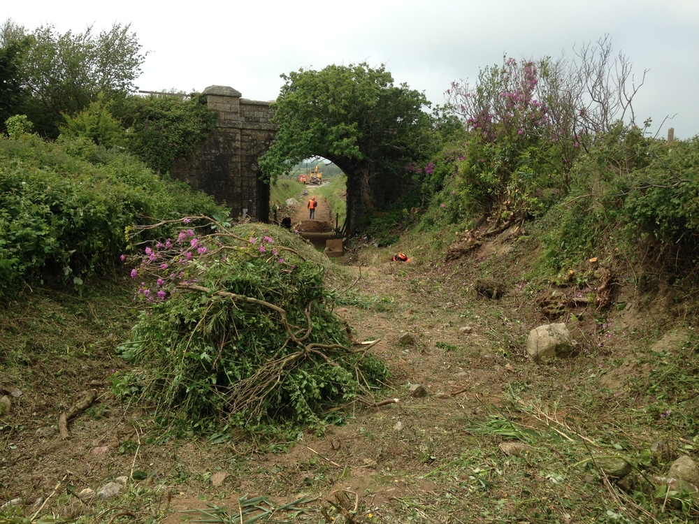 2 June - clearing work under way - the cutting beyond the bridge has been filled in - contents are probably a Cornish hedge.