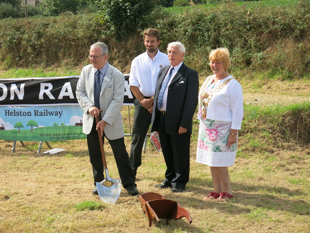 Sir Peter Hendy with James Packman, Chairman of HRPC, Chris Heaps, Chairman of HRPS and Gillian Geer, Mayor of Helston