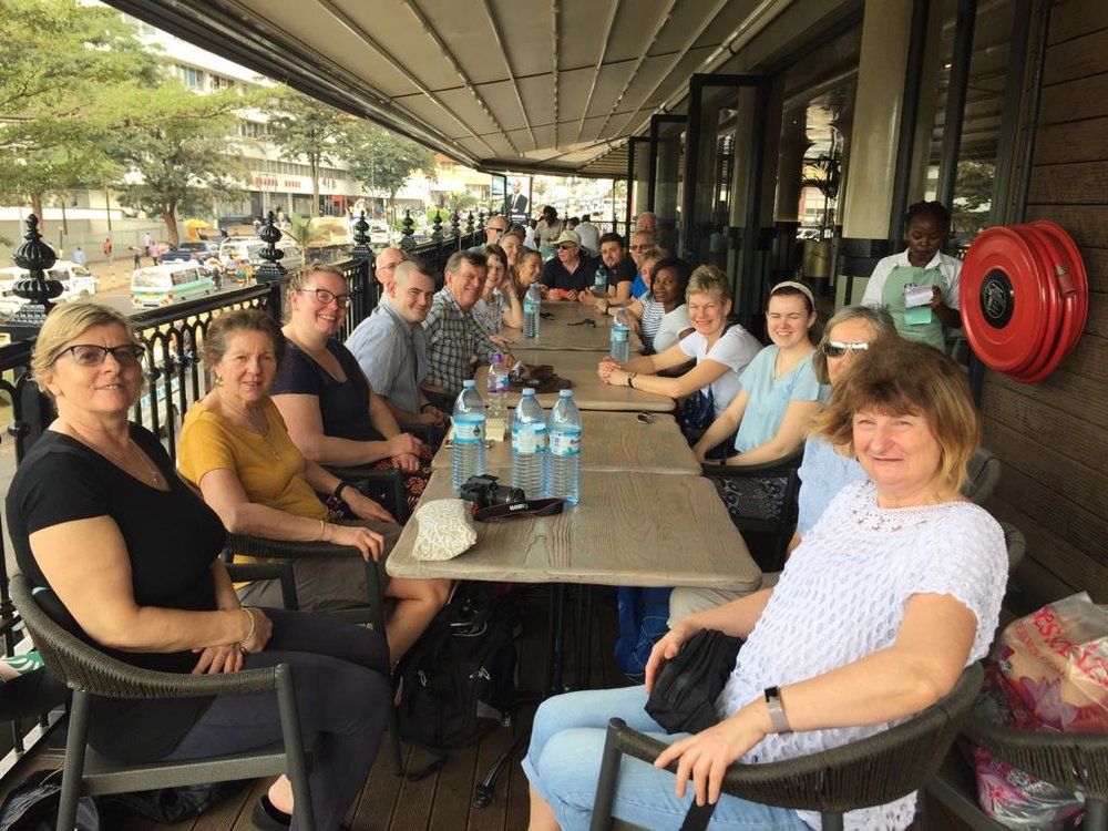 The team having lunch in Kampala, before setting off to Jinja.