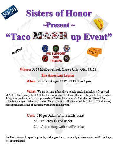 Sisters of Honor present Taco MASH up Event MASH Pantry