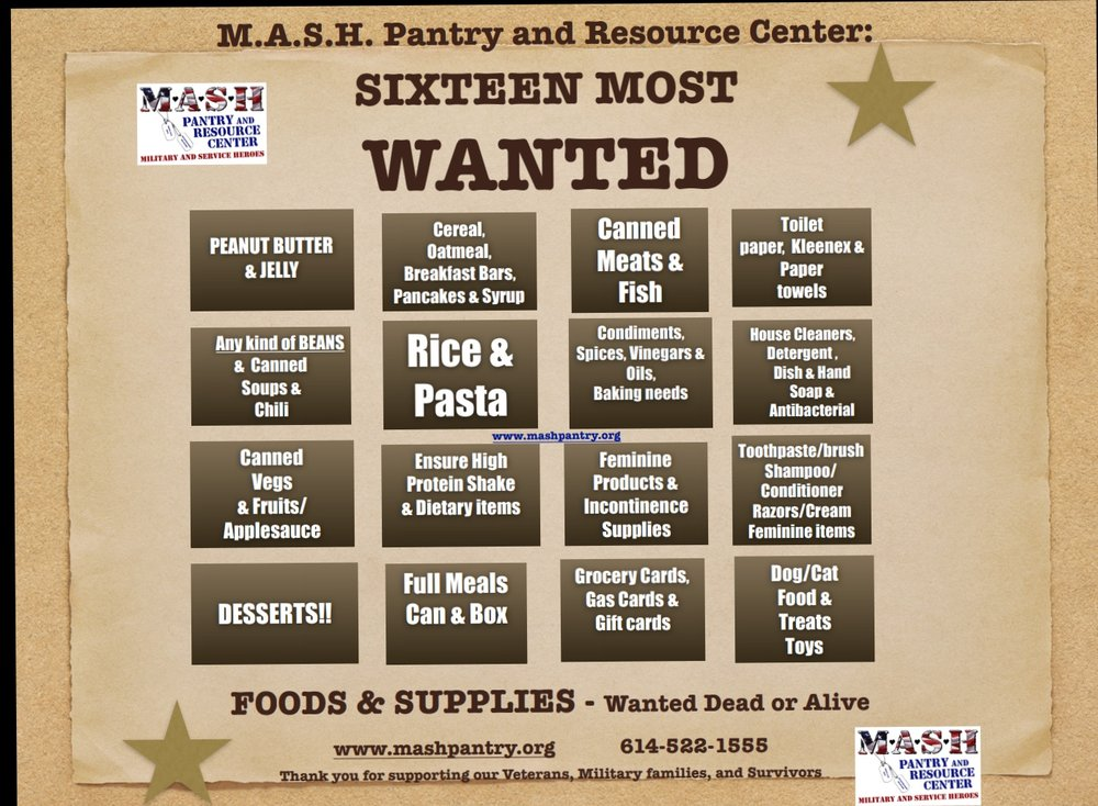 We collect for all FOUR locations: Delaware, Grove City, DSCC Installation, and Rickenbacker ANGB. Thank you for supporting our Local Heroes!!    Information on Hosting a Food Drive -      Click Here