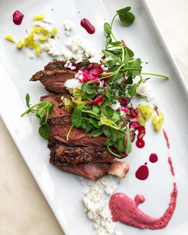 Sweetgrass Farm lamb sirloin with Charleston gold rice, Hungarian chile, beet emulsion & a raspberry rosemary mustard. Some of the best lamb we've had the pleasure of working with so we can't wait for you to try it! See the rest of the Bounty lineup on our story! #republictavern #nosetotaildining