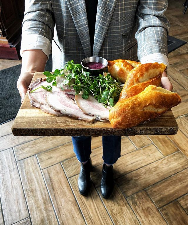 This deliciousness is on for tonight! Coppa di Testa | House made baguette, micro green salad, blueberry lemon thyme mustard #republictavern #nosetotaildining