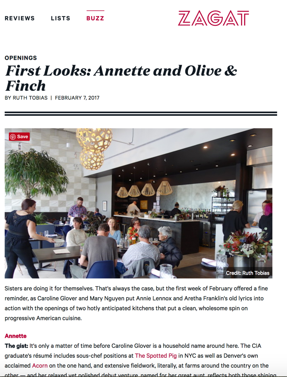First Looks: Annette and Olive and Finch (Zagat)