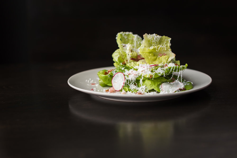 Butter lettuce with pickled onion, candied sunflower seeds, ricotta salata and tarragon