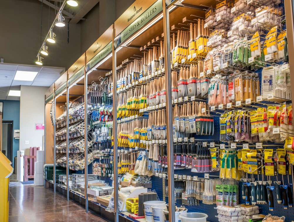 Paint applicators, brushes, sponges, and rollers at the Johnston Paint & Decorating showroom