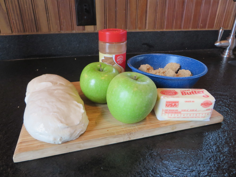 You're basic ingredients: Dough, Apple, Brown Sugar, Butter & CInnamon. You can also use vanilla, and cornstarch at one point, if you want.