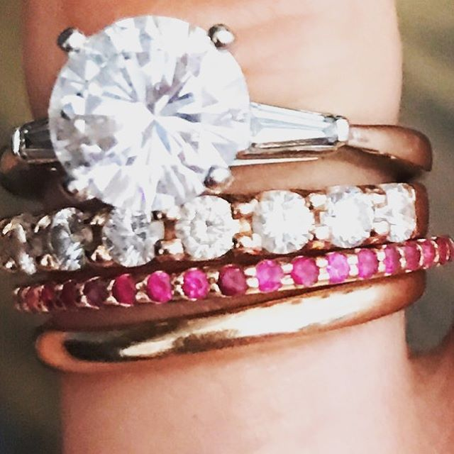 Classic pieces with a pop of color #chicagojeweler #diamondring #ruby #diamondconsultant
