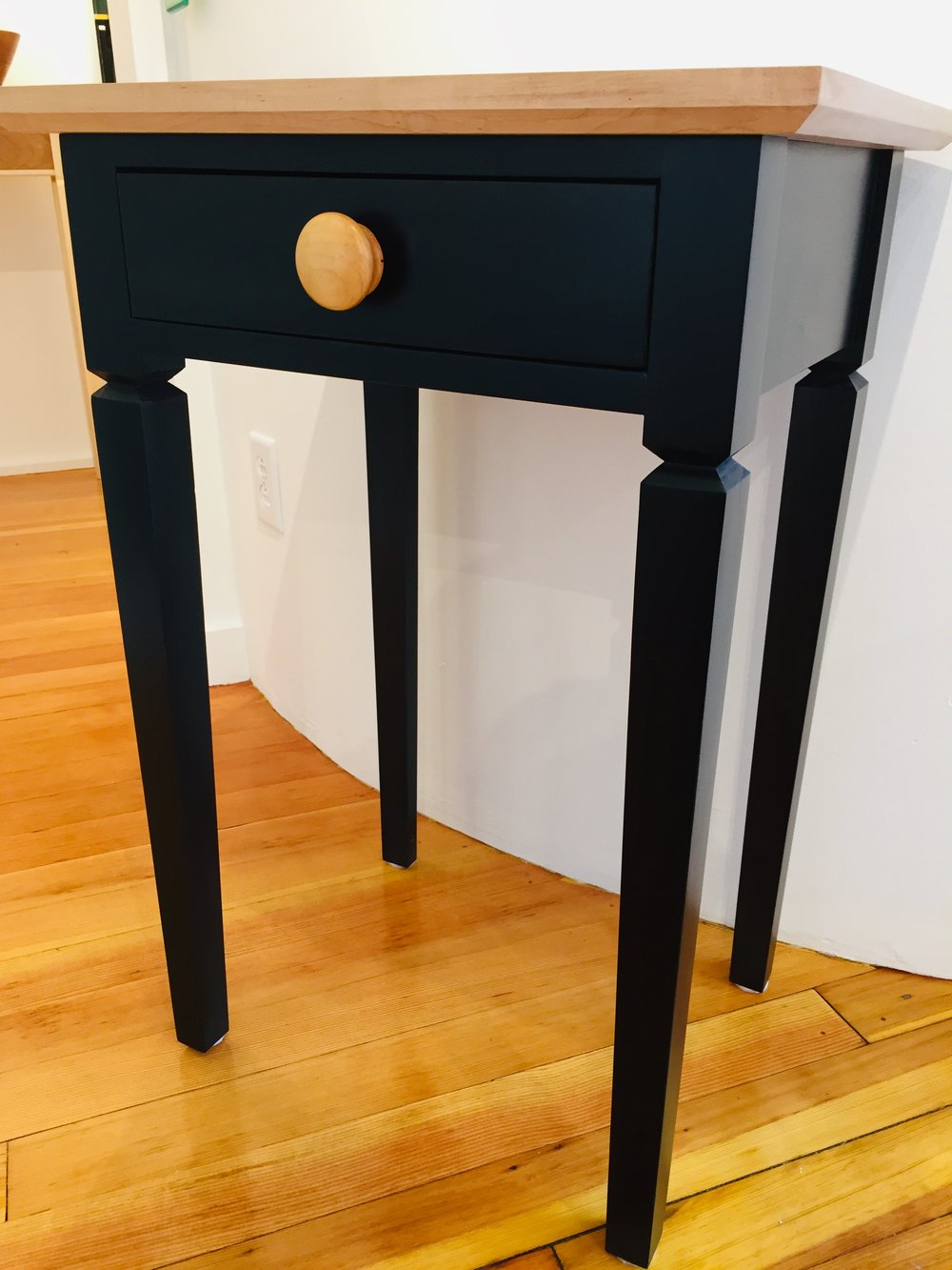 Ebonized Poplar End Table - This piece is made from native Poplar and stained with aniline dye stains. Shellac is then hand rubbed over the stain. May be treated with butchers wax or furniture wax as needed.
