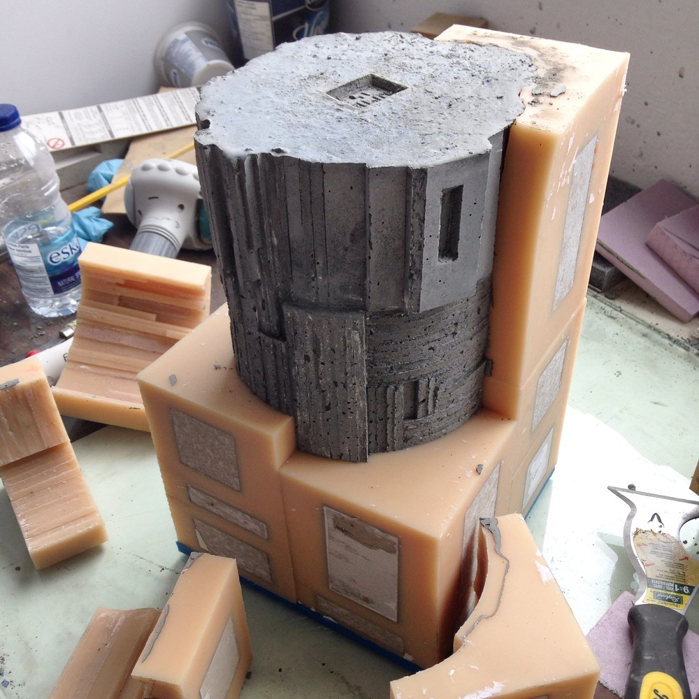 Process for Brutalist Concrete Vase by David Umemoto: Casting and de-molding