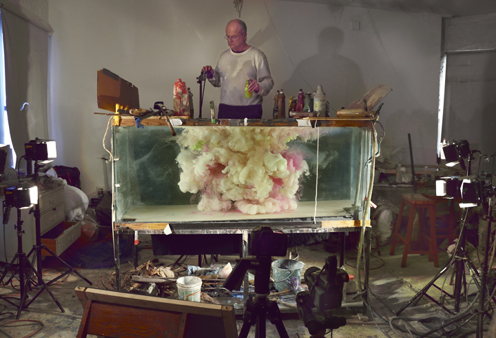 Studio view for Abstract 6683, 2014. Process, at the studio of artist Kim Keever.