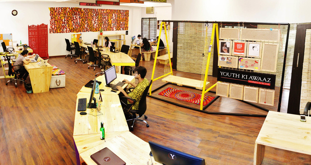 Recycled, low-cost, youthful office design speaks the language of ...