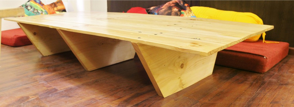 Low-height Coffee Table created from reused Pallet Wood.