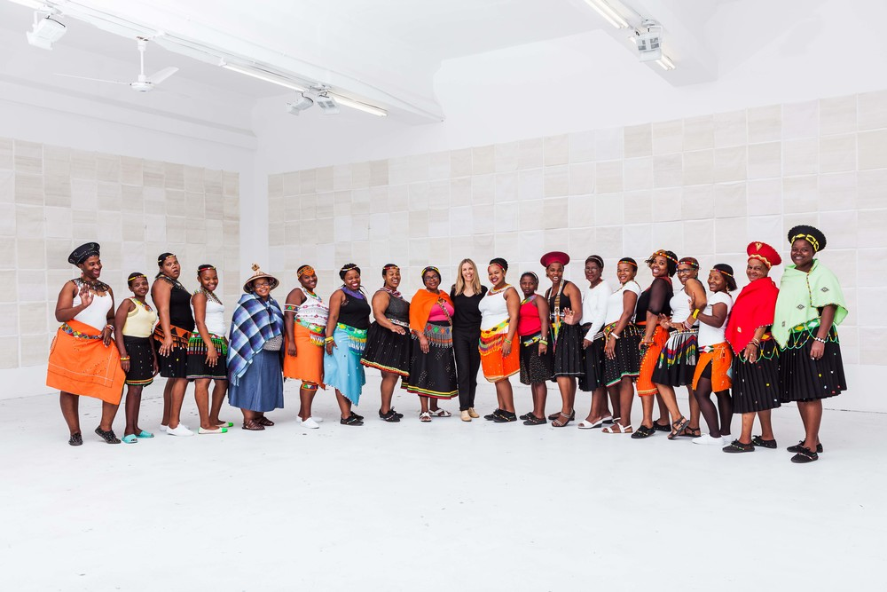Liza, with the her women of her studio, in Durban.