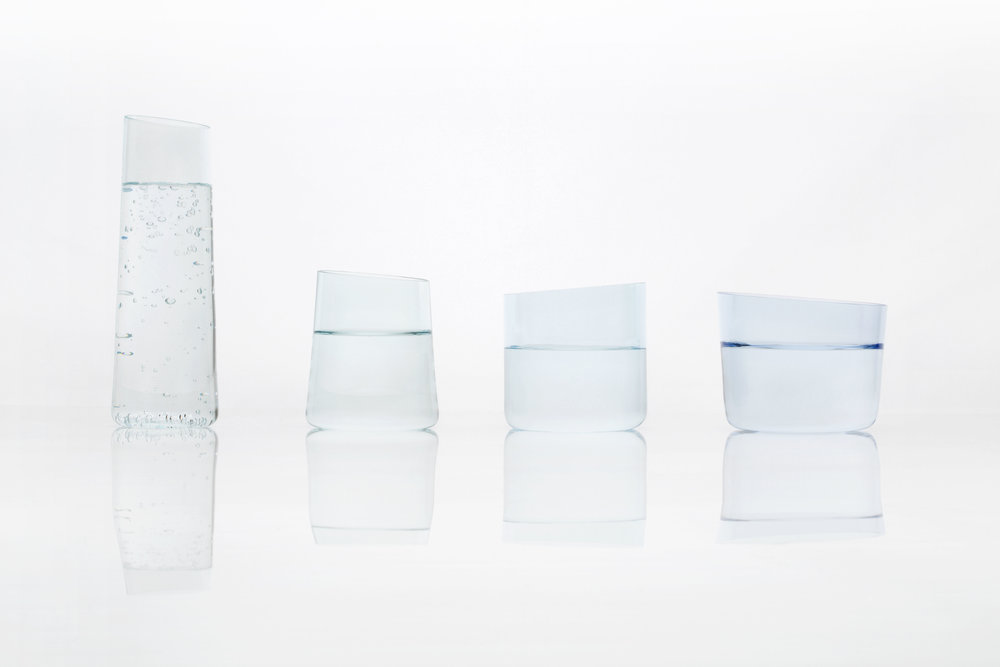 Different shapes and kinds of glassware respond to varieties of water in  Glasses for Water , by Jane Kim