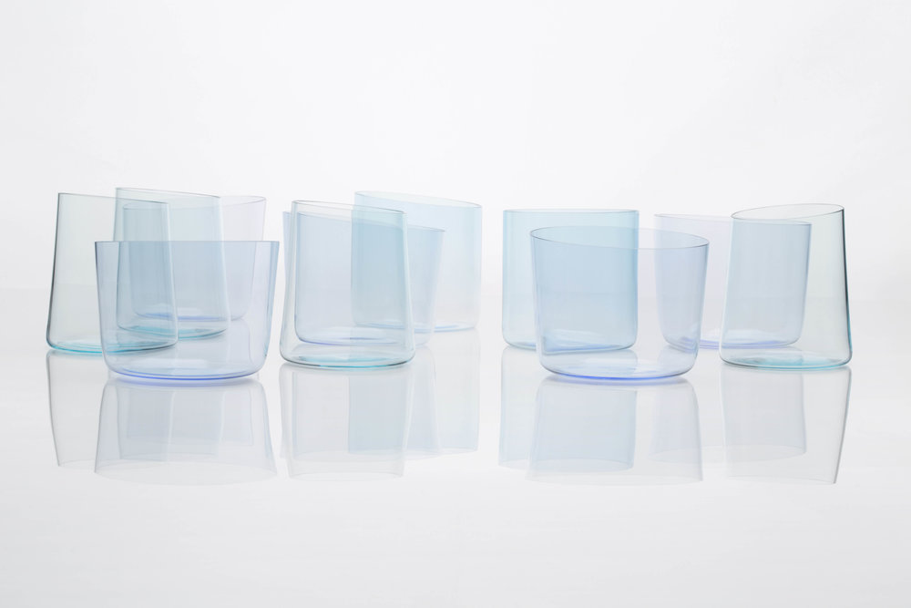 The ultra-thin, delicate forms of  Glasses for Water  enhance the user's water-drinking experience.