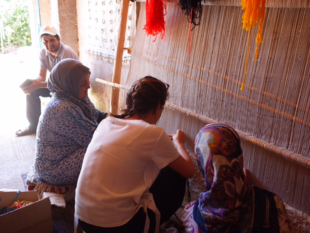 Sabrina, working with Moroccan weavers.