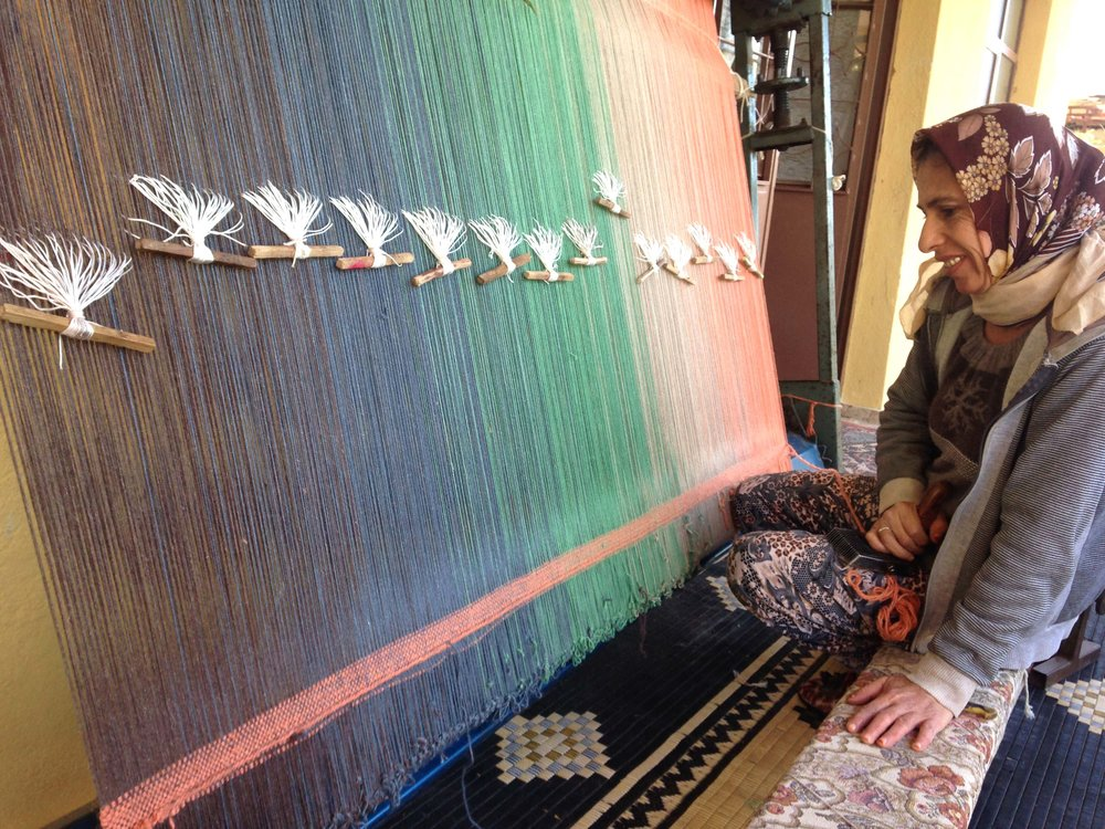 Turkish weavers, from Kirkit Istanbul, creating the Shade Rugs