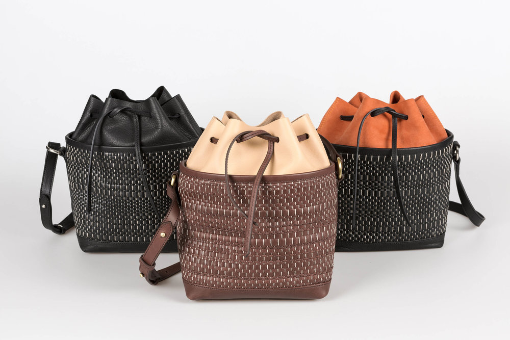 The woven leather from Leather Weaves, is channeled to handbags by Begüm Cana Özgür, Kirkit Istanbul