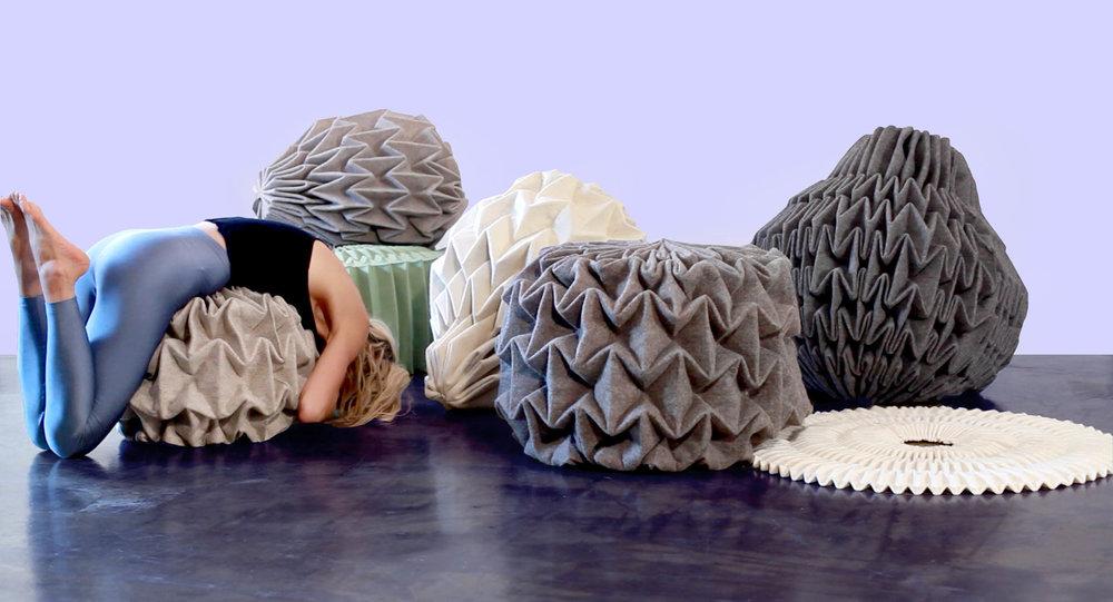 Cones no.2,Unfolded sculptures in felt, by Jule Waibel