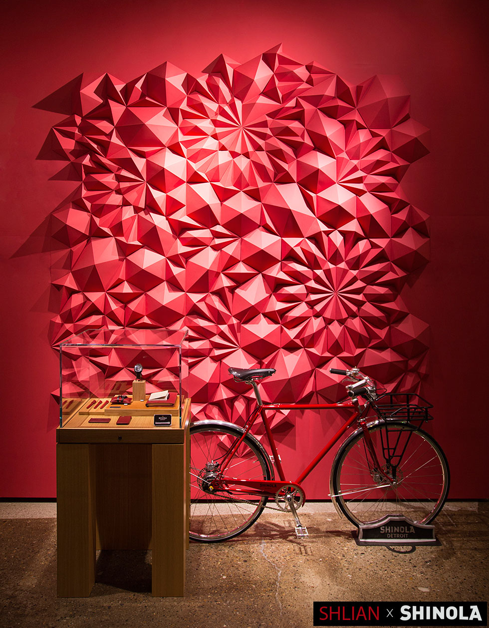 Exhibit for Shinola, Paper ,132 x 132 x 4 inches. 2013. By Matthew Shlian