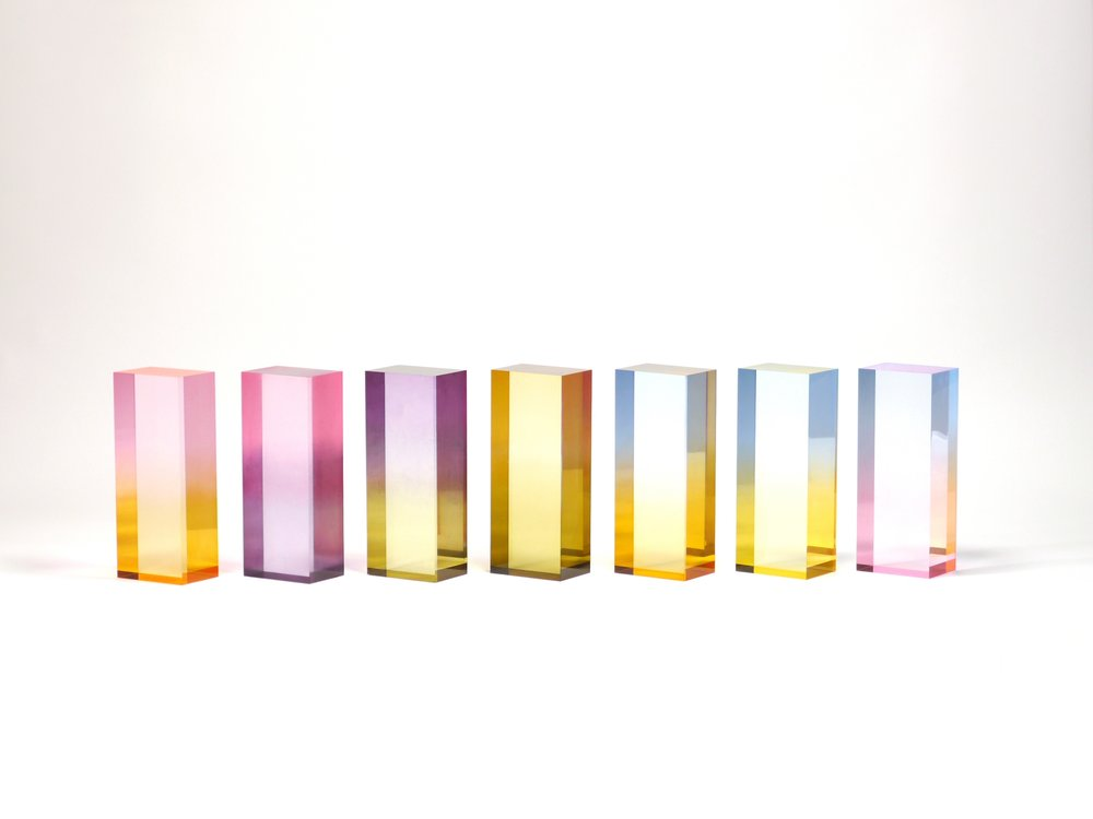 Color samples of Saerom Yoon's dyed acrylic resin.
