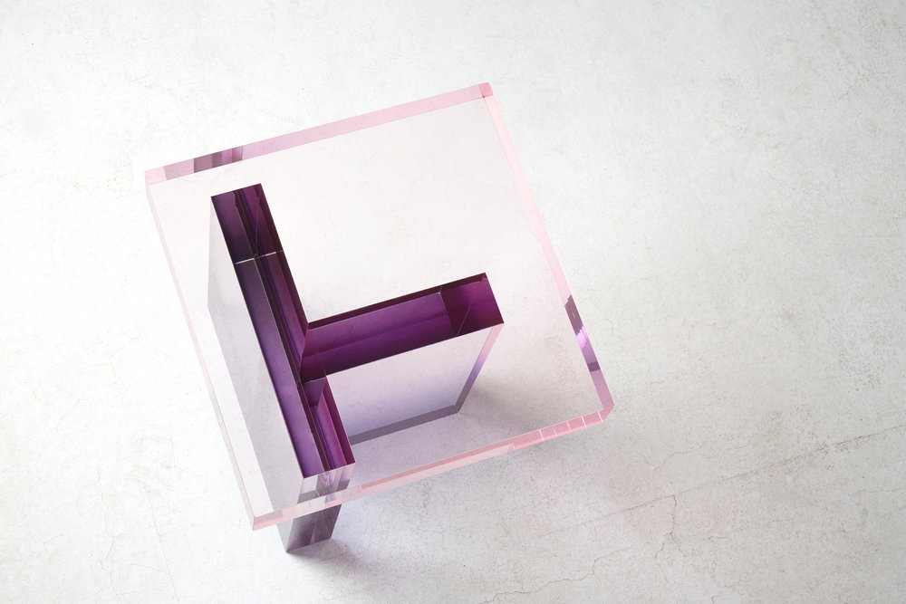 Crystal Series  table by Saerom Yoon, in shades of purple and pink.