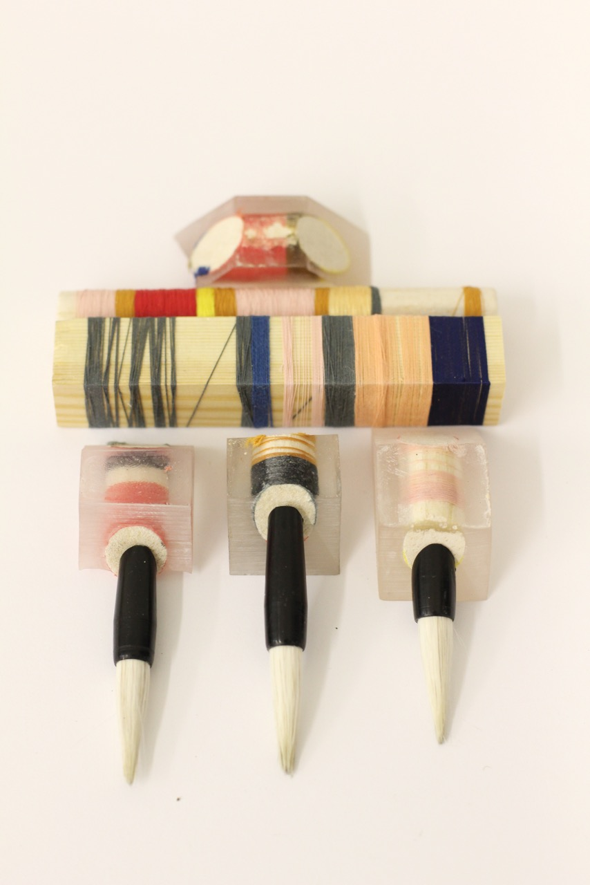 Ejing's early experiments with thread and resin at the Royal College of Art
