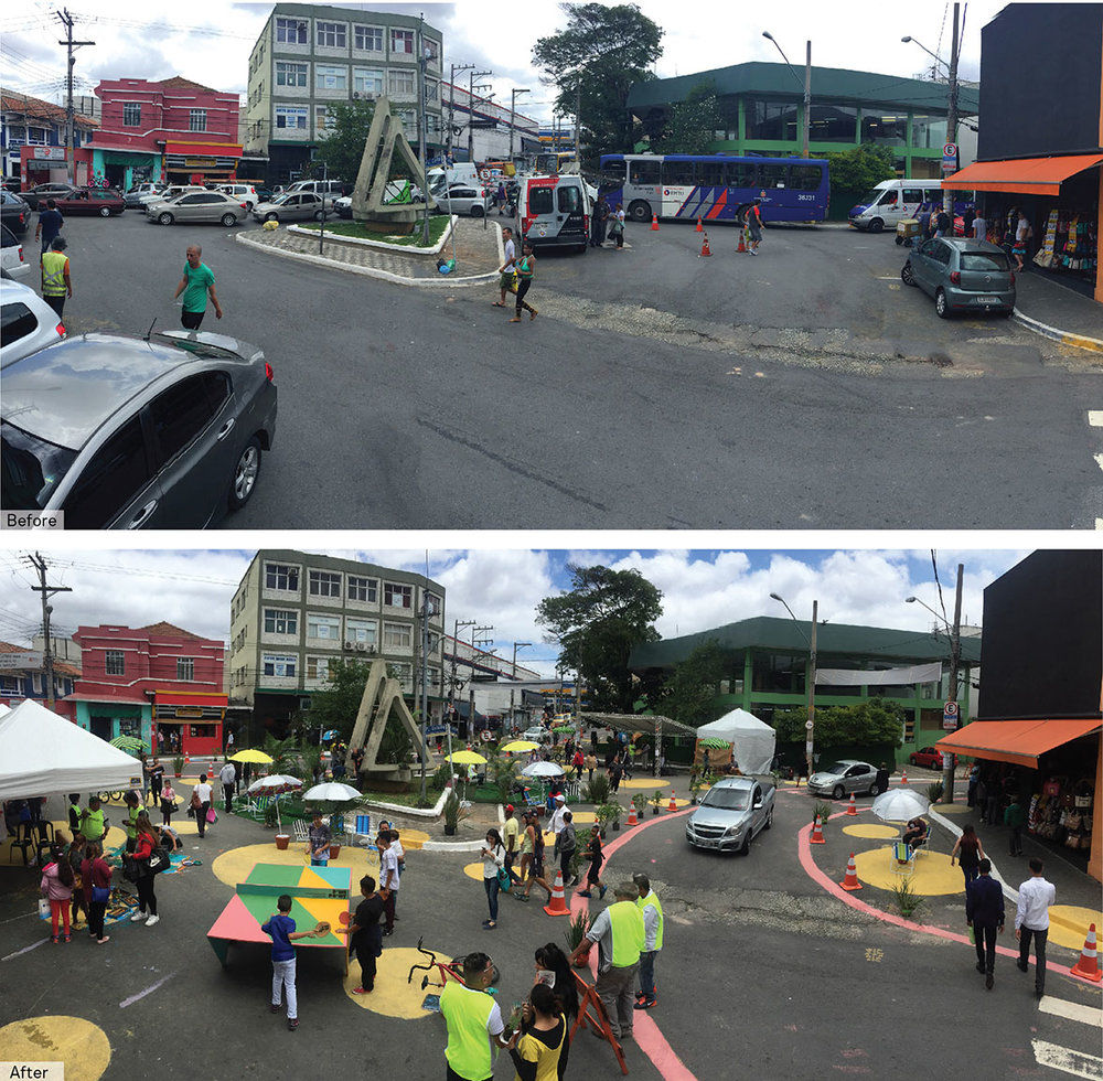 A vibrant and active pedestrian plaza, and multiple pedestrian crossings emerge during NACTO's one-day pop-up transformation event in Sao Miguel, São Paulo.