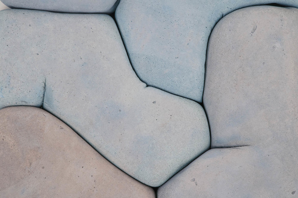 A softer side to the gray, heavy material we know, is unveiled in Iwan Pol's  Happy Concrete-II