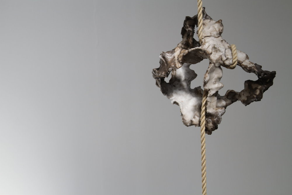Javier Torras, BalancedTension, 2016, 490x300x15cm. Iron,steel,clay,wax and rope.