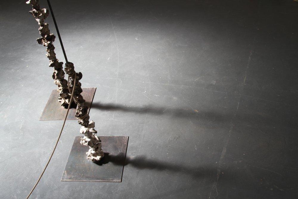 Javier Torras,  Matter Mutation,  2016,100x175x100,bronze, clay, wax, steel, and rope.