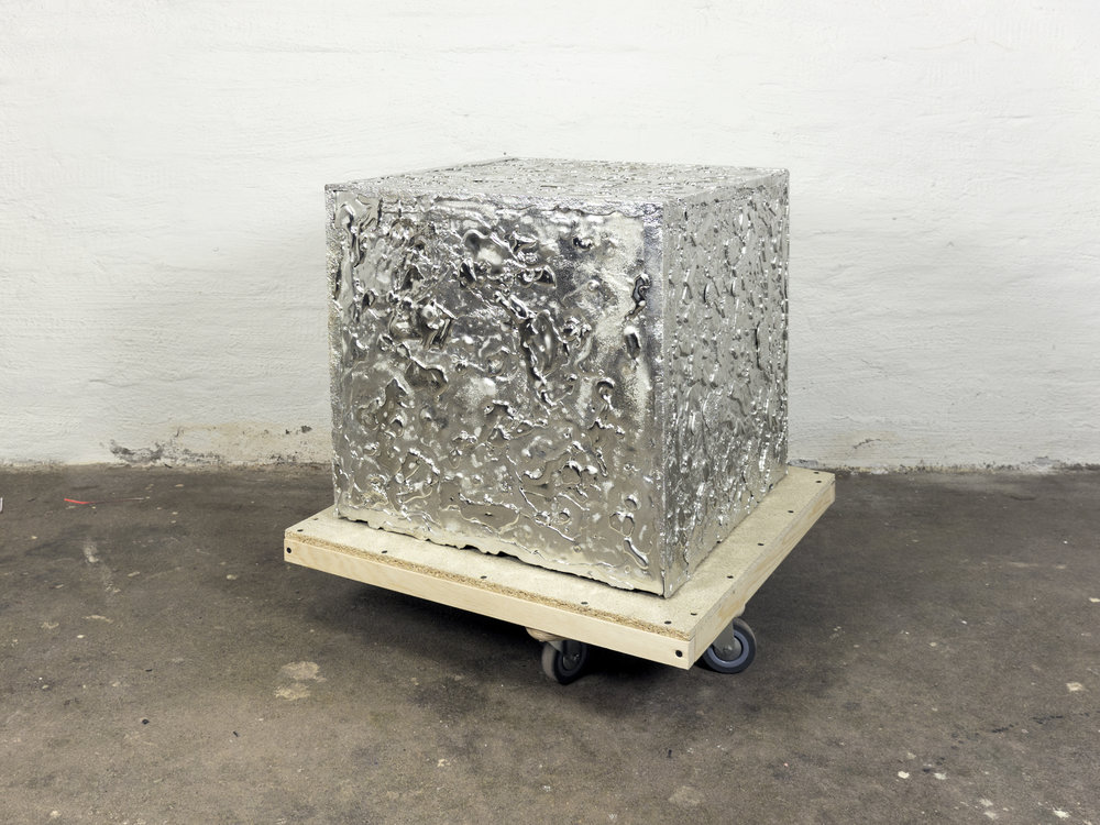 Tin Plinth, for the Plinth Project, by Jenny Nordberg. The Plinth project is an examination of the parameters of plinths as typology and our cultural conceptions of them. Image source: Jenny Nordberg Press Images