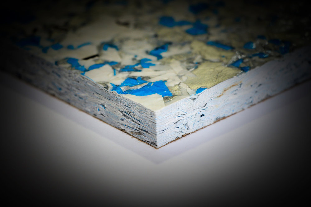 ReWall: A unique replacement for drywall or sheetrock, is a landfill-diverting eco-panel made from 100 % recycled content (cardboard cartons and pakcaging). Information about ReWall appears in the HML resources. Image courtesy ReWall