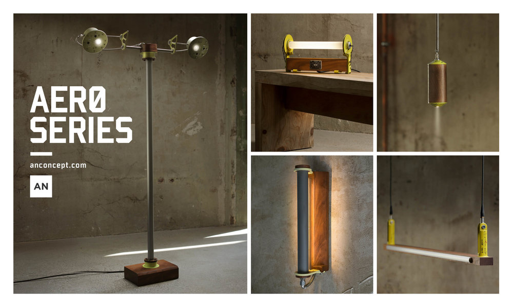 The Aero Series by Alper Nakri: Five lighting objects created from discarded aerospace aluminum.
