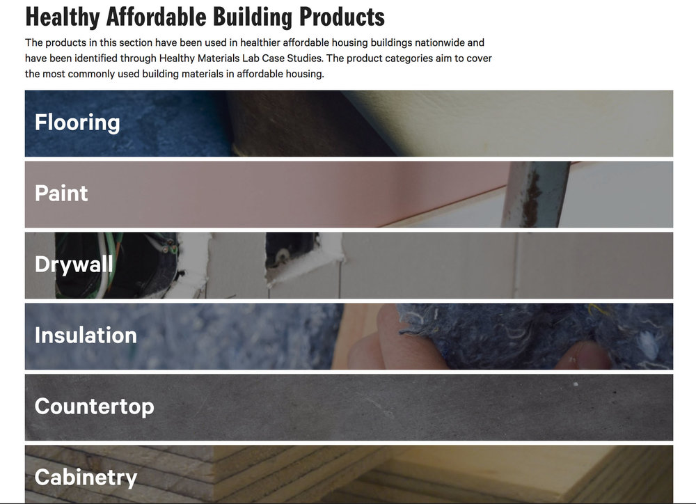 A glimpse of the Healthy Affordable Product List page, aggregated by Healthy Materials Lab.