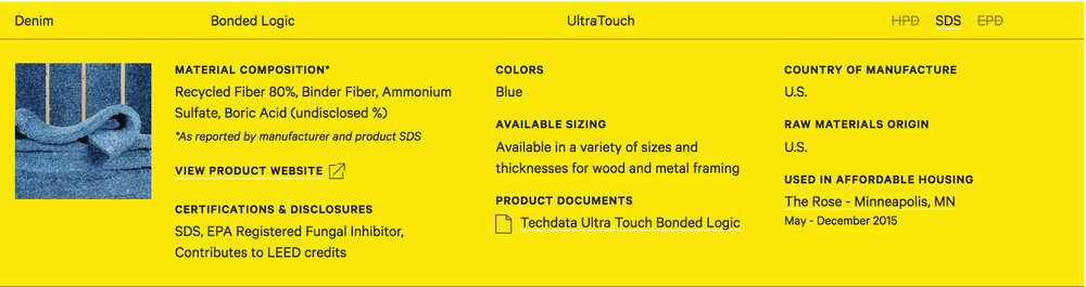 A glimpse of one product listing (Denim Insulation) on the Healthy Affordable Product List page, aggregated by Healthy Materials Lab.
