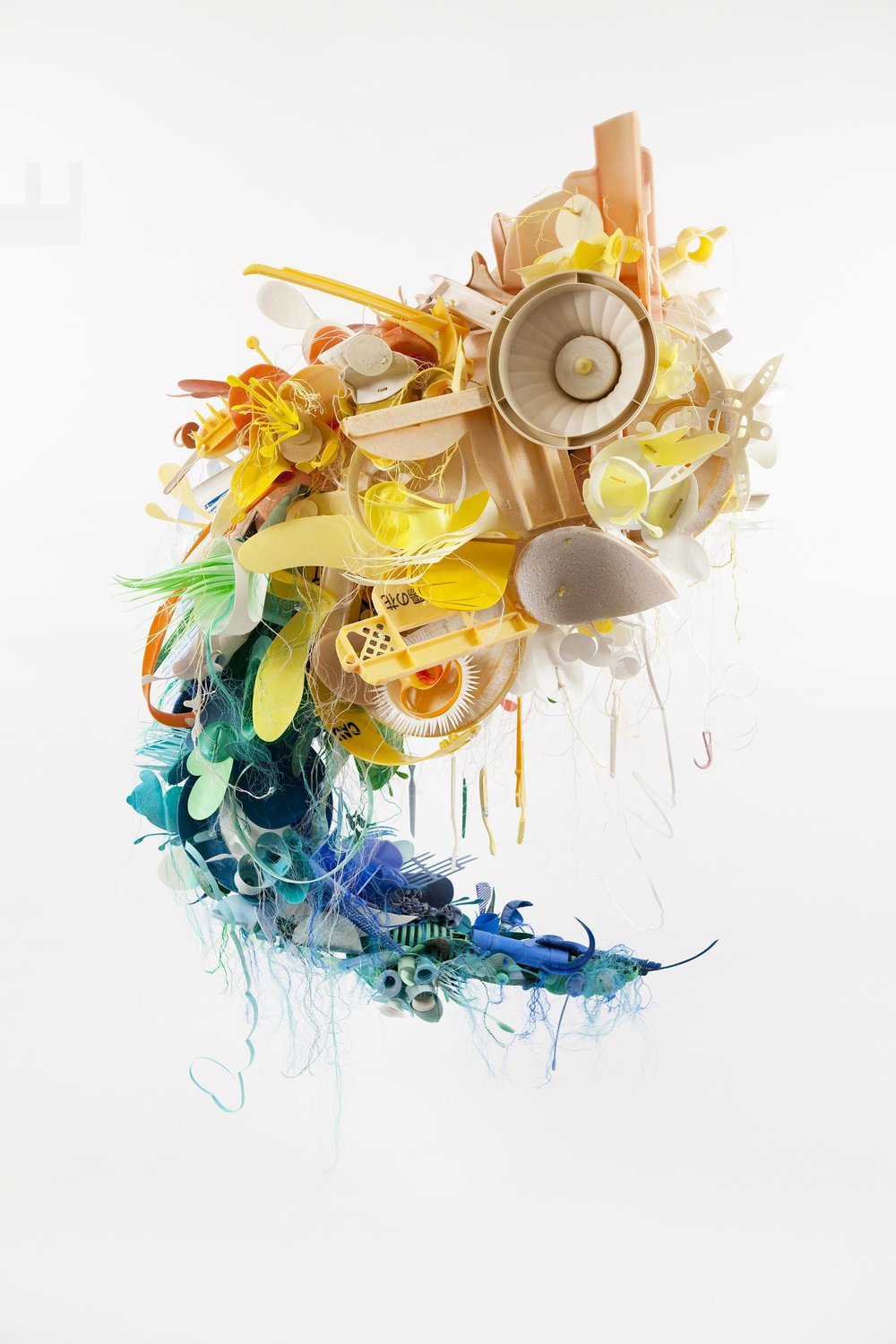 Sculpture created from plastic debris  by Project Vortex's founding artist  Aurora Robson