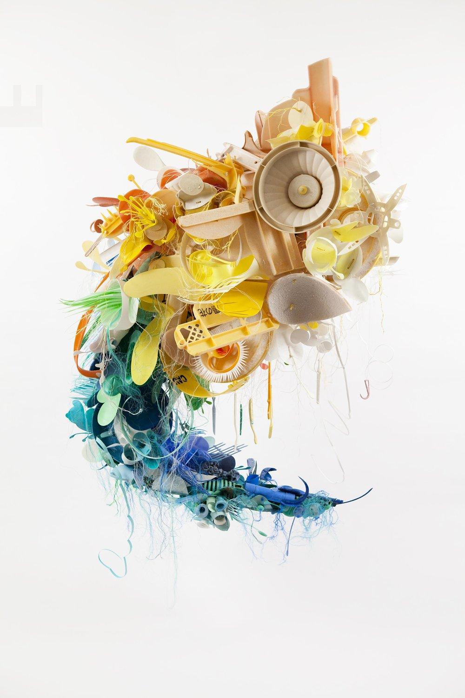 Sculpture created from plastic debris by Project Vortex's founding artist Aurora Robson