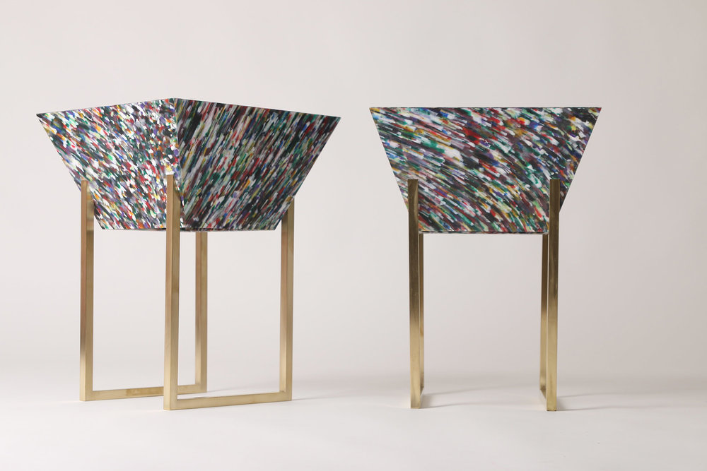 Margot Hamelin's furniture used Smile Plastics'  Bottled  material