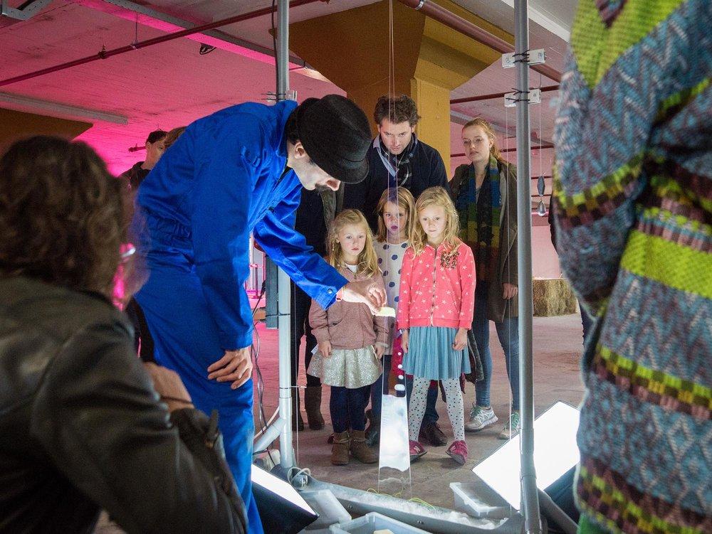 An interactive bio-based display at BioArt Laboratories' exhibit at Dutch Design Week 2016