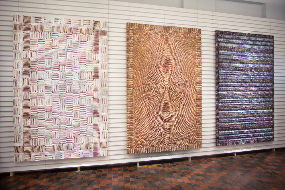 Mussel Carpet, Razorclam Carpet (detail at top of page) and Shell Carpetby  We Make Carpets  seen here at the collection of the Zeeuws Museum, Middelburg, the Netherlands