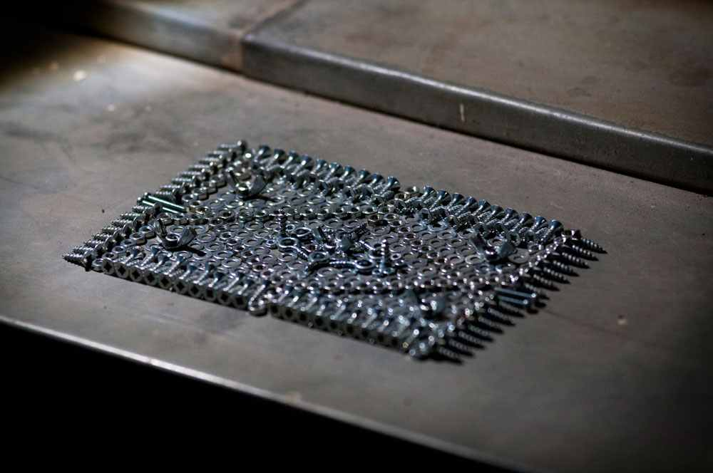 Hardware Carpet, One of  We Make Carpets  smaller, table-top works. Photography by  Amy Kouwenhoven