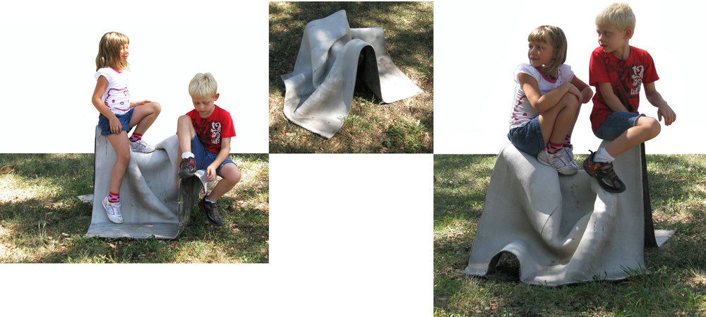 Concrete Canvas Play Furniture , By Taeg Nishimoto is made from Concrete Canvas, placed on a form-shaping structure. The forms are intended to provoke playfulness in their interaction with children.